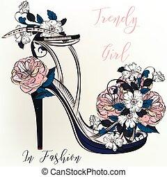 Fashion illustration with elegant female sandal.eps -...