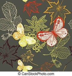 Floral vector pattern with foliage. Autumn design.eps -...