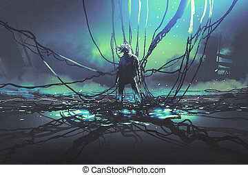 man with many black cables against dark factory - scene of...