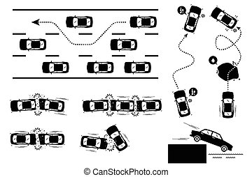 Car Accident and Reckless Driving. - Illustrations depict...