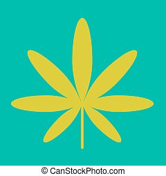 Cannabis green leaf hippie sign isolated on white - Cannabis...