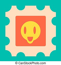 Funny yellow cartoon face with open mouth illustration