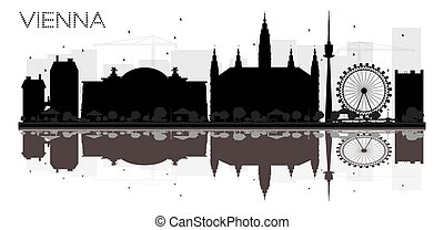 Vienna City skyline black and white silhouette with reflections.