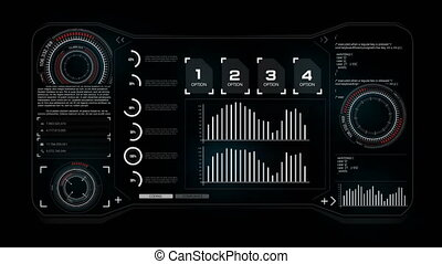 4K animation HUD head up display interface code graph bar...