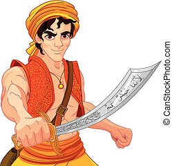 Aladdin and Wonderful Saber - Aladdin holds his magic saber