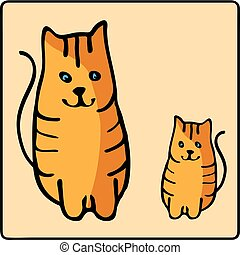 Cute orange red-headed cat. Kids illustration with domestic animal. Lovely pet. Hand drawn illustration.