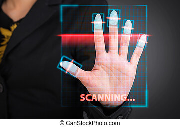 Businesswoman pressing  scan bar code high technology.