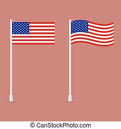 American flag on pole. vector illustration