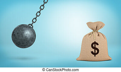 A large swinging wrecking ball on blue background beside a giant money bag with a USD sign.