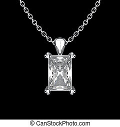 3D illustration isolated white gold or silver diamond necklace on chain