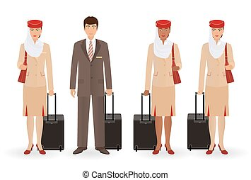 Stewardess and pilot muslim characters. Flying team real people standing in uniform with suitcases.