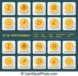 set of ten different cryptocurrency on a white background -...