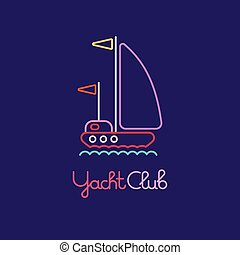 Yacht Club - Colorful line art on a dark violet background...