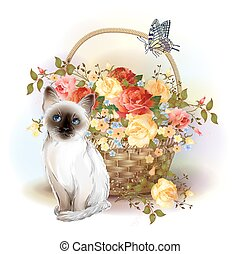 Happy birday card. Siamese kitten, butterfly and basket with roses.