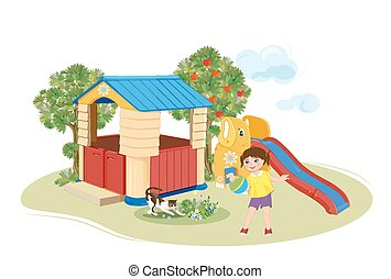 Girl playing with ball. Playground. Slider and  toy house.