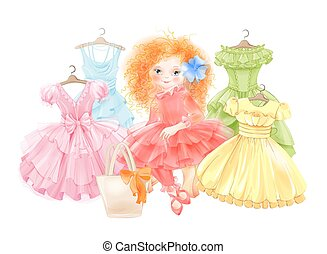 Glamour girl and set of festive dresses for summer party. Princess style