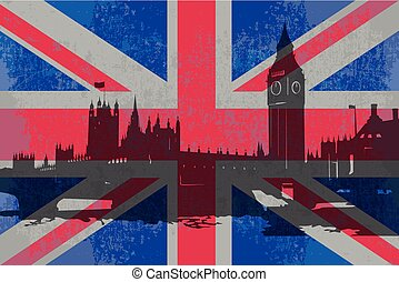 The flag of England and the parliament building..eps - The...