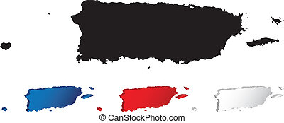 Map of Puerto Rico with three-dimensional variations