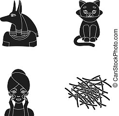 Anubis, cat and other web icon in black style. facial...