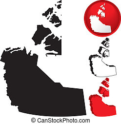 Detailed Map of the Northwest Territories, Canada with...