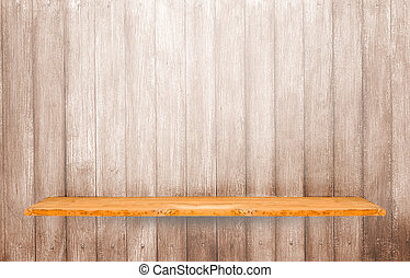 Wooden shelf on wood wall vertical background.