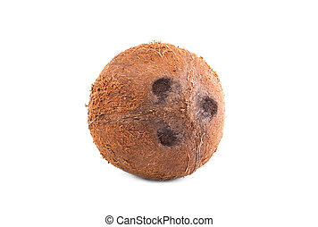 One whole coconut isolated on a bright white background. Appetizing and ripe coco. Healthful nuts. Organic nutritions.