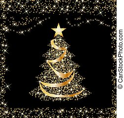 sparkling golden christmas tree - illustration of a...