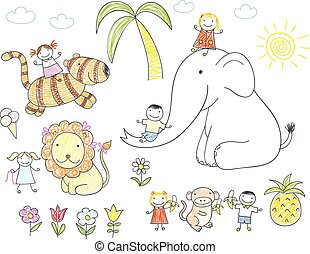 Happy children and animals - elephant, lion, tiger and...