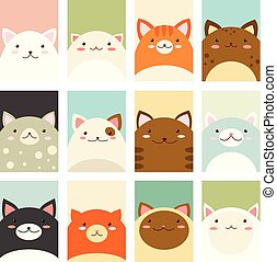 Set of banners with cute cats - Banner, background, flyer,...