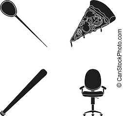 Hairpin, pizza and other web icon in black style. baseball...