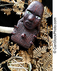 Maori wooden carving artwork background texture.