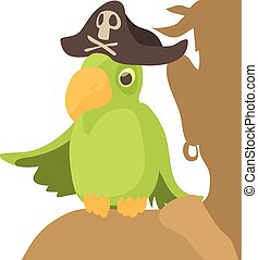 Pirate parrot icon, cartoon style