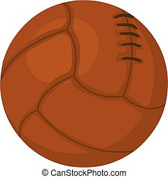 Old volleyball ball icon, cartoon style