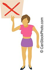 Woman protest with sign icon, cartoon style - Woman protest...