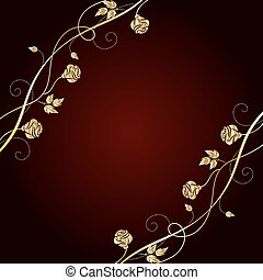 Gold flowers on dark background. - Gold floral pattern on...