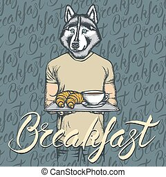 Vector Illustration of husky dog with croissant and coffee -...