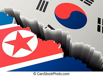 Crack North and South Korea - detailed illustration of the...