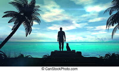 A lonely man with dog is looking at the green ocean - The...