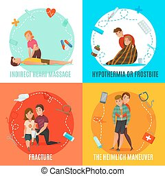 Emergency First Aid People Concept - Four square icon set...