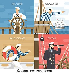 Ship Crew 4 Icons Concept - Sail ship crew members at work 4...