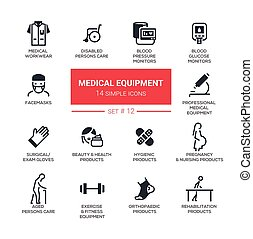 Medical equipment - Modern simple thin line design icons,...