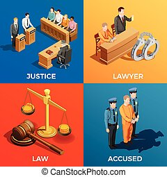 Justice Isometric Design Concept - Law isometric design...