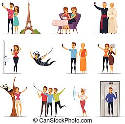 Selfie Icons Set - Selfie and people icons set with travel...