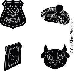 milk, law and order and or web icon in black style. clothing, technology icons in set collection.