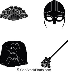 History, travel and or web icon in black style.archeology,...