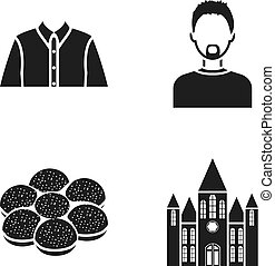 history, profession and or web icon in black style.cooking,...