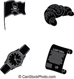 travel, Time and or web icon in black style.Cooking,...