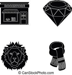scarlet, secondhand and or web icon in black style. book...