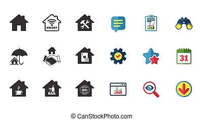 Real estate icons. House insurance sign. - Real estate...