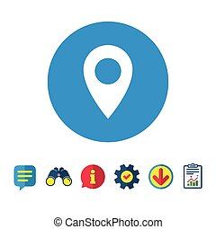 Map pointer icon. GPS location symbol.